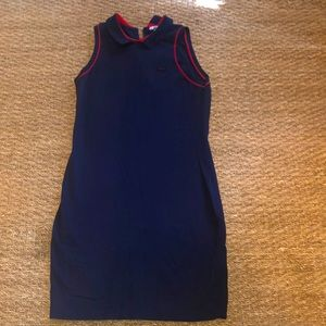 Lacoste navy and red trim sleeveless polo dress